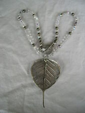 LAVISH SILVER LEAF PENDANT ON FACETED GLASS & SILVER BEAD CHAIN NWT
