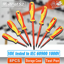 8 PCS VDE ELECTRICIANS SCREWDRIVER BOX SET 1000V AC Slim Electrical Insulated