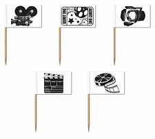 10 MOVIE THEMED COCKTAIL STICKS FLAGS HOLLYWOOD FILM SET PICKS PARTY DECOR AWARD