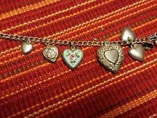 VINTAGE 1940'S STERLING SILVER PUFFY HEART CHARM BRACELET WALTER LAMPL REPOUSSE