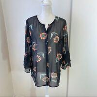 Cabi Women's La Di Da Sheer Floral Bell Sleeve Button Front Blouse Sz Medium EUC