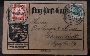 1912 Darmstadt  Germany Schwaben Zeppelin Experimental Postcard FFC LZ 10 Cover