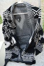 BCBG Maxazria Black Sweater Cardigan Aztec Geometric Tribal Pattern Size Small