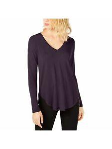INC Womens Purple Long Sleeve V Neck Top Size: M