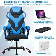 Chaise Gaming de Massage Inclinable Support Lombaire Gamer Chaise de Jeu Bureau