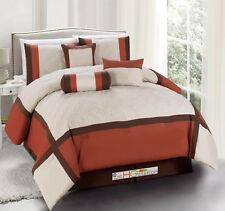 7 Quilted Diamond Square Patchwork Modern Comforter Set Orange Brown Beige Queen
