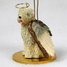 WHEATEN Dog ANGEL Ornament HAND PAINTED Resin Figurine Christmas Soft Coat puppy