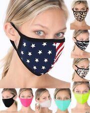 American Flag Face Mask Washable Reusable Animal Print Cheetah Cover Hot Pink