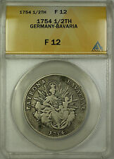 1754 Germany-Bavaria Silver 1/2 Thaler Coin ANACS F-12
