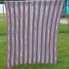 Vintage Striped Crochet Afghan Blanket Throw Gray Blue Dusty Rose Pink 48 x 62