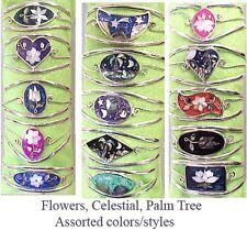 Wholesale Clearance-25 Handcrafted Abalone Shell Alpaca Silver cuff Bracelets-Ne