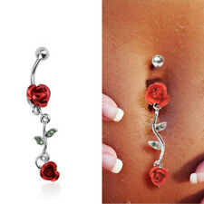 Red Rose Barbell Belly Bar Ring Button Navel Body Piercing Jewelry Dance Dangle