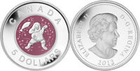 2013 $5 99.99% Pure Silver Coin - Mother & Baby Ice Fishing with Niobium insert