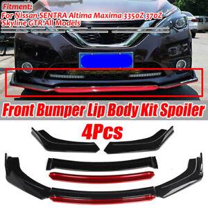 Glossy Black Front Bumper Splitter Red Lip For Nissan 350Z 370Z GT Altima Maxima