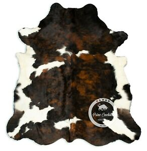 Cowhide Rug - Exotic Tricolor High Quality Hair on Hide Size: Large (L) H39