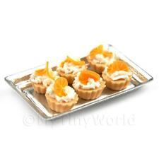 6 poupées maison miniature lâche confits Orange Slice tartes sur un plateau