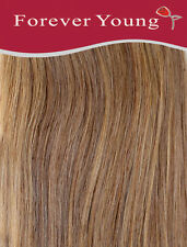 Forever Young 16-inch Long Caramel Brown Number 10 Ladies Half Head Clip in Huma