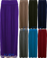Maxi Skirt Gypsy Fold Over Waist Full Length Skirts Jersey Dresses Womens Ladies