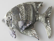 Silvertone TROPICAL ANGEL FISH PIN Brooch Silver-tone Jewelry 1-5/8 inches