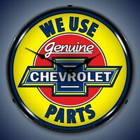 New vintage style Genuine Chevrolet Parts advertising old time LED LIGHTED clock