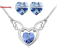 White Gold Filled Blue Love Heart Set Made With Swarovski Crystal N76XE63