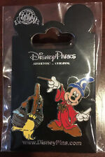 Disney Pin HKDL Fantasia Sorcerer Mickey Mouse with Wand & Broom 2 Pin Set