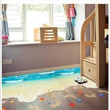 3D Sea Beach Floor Wall Sticker Removable Mural Decals Art Home Room Decor D