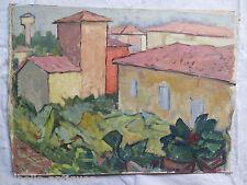 Vue de la Ville de Piumazzo Tableau Ancienne Peinture Style Impressionniste P9