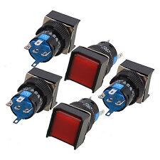 5stk rote quadratische Kappe DC12V helle SPDT 5 Klemmen, die Druckknopf-Schalter