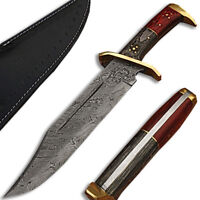 WHITE DEER Damascus Steel Rattler Bowie KnifeFrost Wood Handle