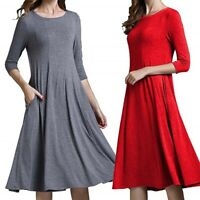 Color Women Loose A-Line Casual Gown Ball Dress Shift Dress Plus Size Solid