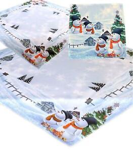 WEIHNACHTEN Schneemann Tischdecke Mitteldecke Decke Weihnachtsdecke Pflegeleicht