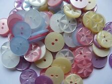 100 STAR BUTTONS ASSORTED COLOURS SIZE 18 - 11MM CRAFT