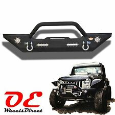 2007 - 2016 Jeep JK Wrangler Rock Crawler Front Bumper w/ LED Lights + DRings 07