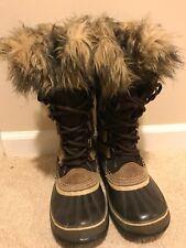 Sorel Joan Of Arctic Snow Boots Brown Fur Suede Leather Women's US 7