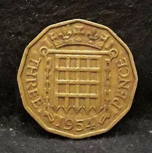 1954 Great Britain 3 pence, Elizabeth II, Tudor portcullis, KM-900          /N59