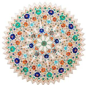 "30"" Center Table Top Semi Precious Stones Floral Inlay Handmade Fine Work"