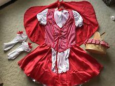 Red Riding Hood Halloween Costume, w/ hooded cape, basket, socks, Medium 5-8