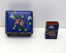 Vintage Cloisonne Cigarette Box and Match Case Trinket Box
