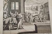 GRAVURE SUR CUIVRE CORNEILLE BAPTISE JESUS-BIBLE 1670 LEMAISTRE DE SACY (B242)