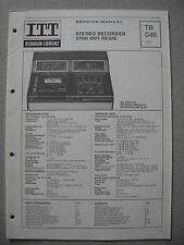 ITT/Schaub Lorenz Stereo Recorder 2700 HiFi Regie Service Manual, TB046