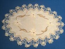 Joli napperon ancien ovale, en coton écru clair, broderie, bordé dentelle