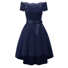 Women Lace Short Sleeves Boat Neck Cocktail Prom Ball Gown Party Evening Dress