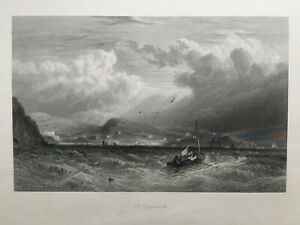 1870 Antique Large Print; Off Teignmouth, Devon after David Cox Jr