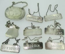 Sterling Silver Liquor Decanter Hanging Tag Labels Lot of 9