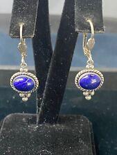 Vintage Native American Sterling Silver Gemstone Dangle Earrings by Q.T.