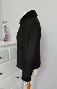 Ladies black Sheepskin Shearling Leather Jacket medium UK 12 flying