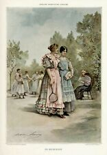 TENNIS  LADY FRENCH LARGE  ORIGINAL 1896 COLOUR PRINT GOOD CONDITION