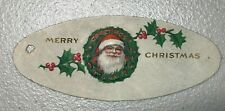 Antique Gift Tag Card Present Christmas Santa Wreath Embossed