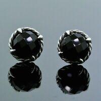 David Yurman Chatelaine 925 Sterling Silver 8MM Black Onyx Cable Stud Earrings